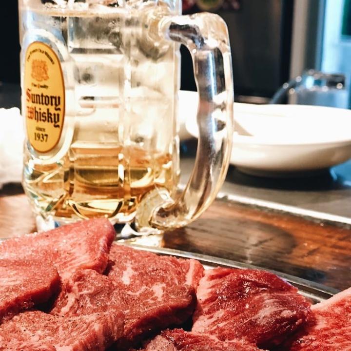 Meat and beer at a yakitori bar