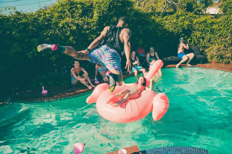 friends in swimming pool